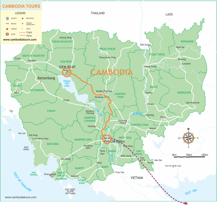 Cambodia at a Glance - 4 Days map