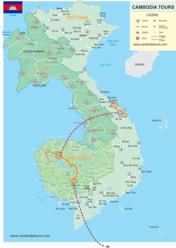 Cambodia & Central Vietnam - 12 days map
