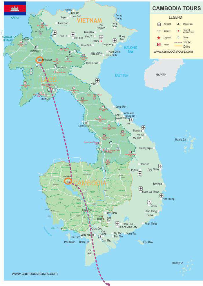Cambodia & Laos Visit - 6 Days map
