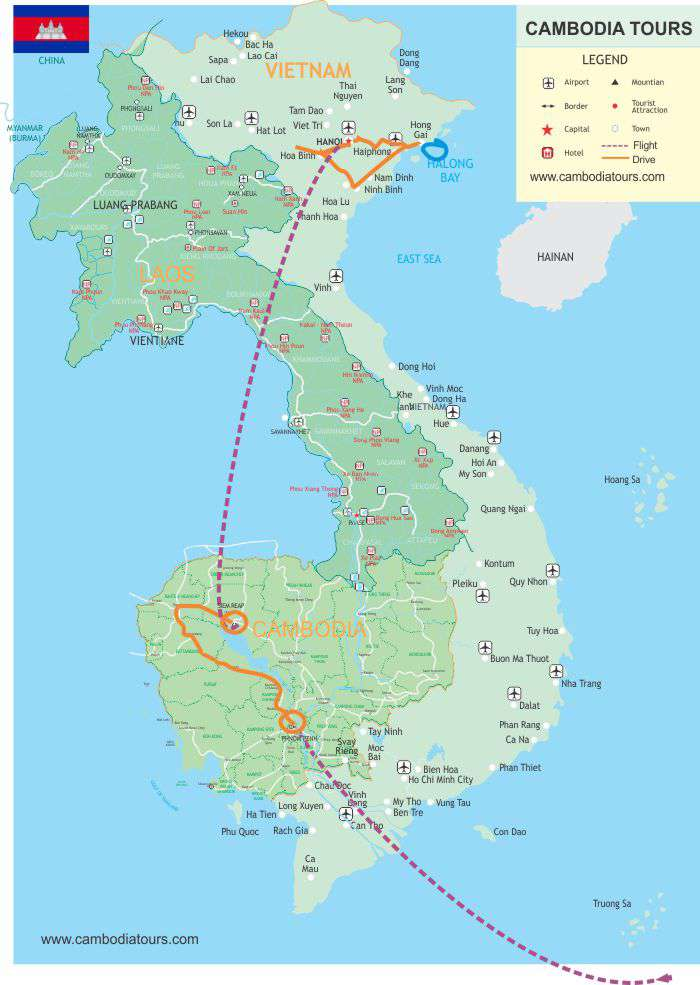 Map Cambodia North Vietnam 11Day d04af