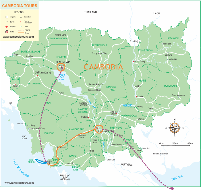 Cambodia Cities & Beach - 8 Days map