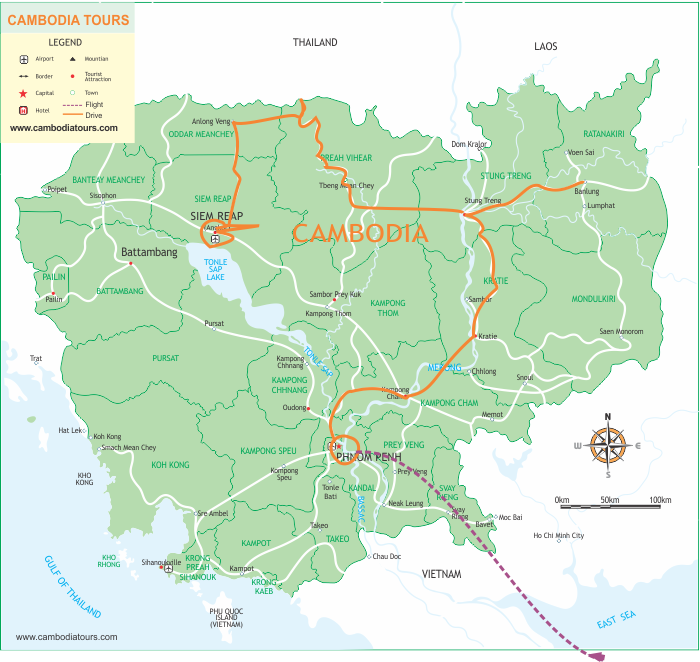Explore Cambodia - 13 Days map