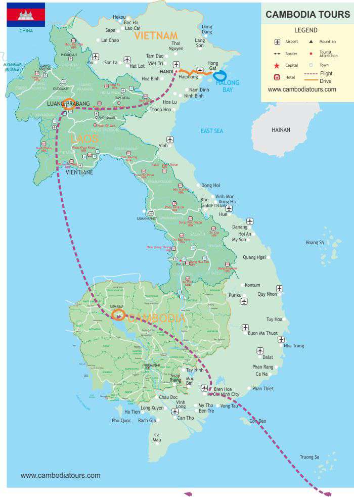 Magical Vietnam, Laos and Cambodia - 11 days map