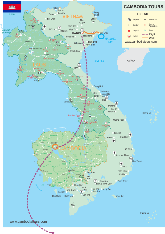 Angkor Wat to Halong Bay - 8 Days map