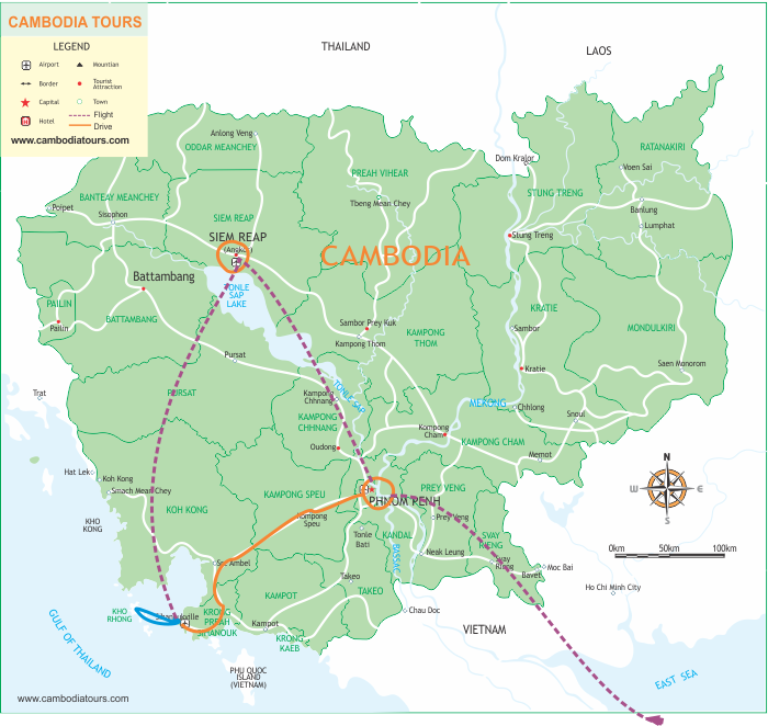 Luxury Cambodia Holidays - 7 Days map