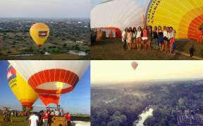 Flying in a hot air balloon over Angkor Wat in Cambodia