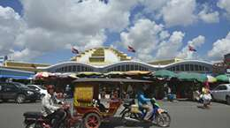 The Central Market ( Psar Thmey ) in Phnom Penh Cambodia