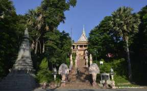 The entrance at Wat Phnom temple in Phnom Penh Cambodia