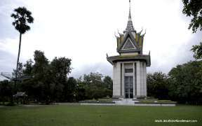 The memorial stupa of the Choeung Ek Killing Fields, Phnom Penh, Cambodia