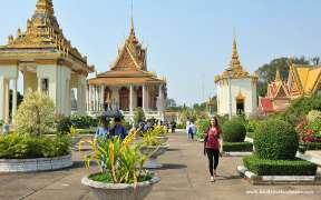Tourists are visiting the Royal Palace in Phnom Penh Cambodia
