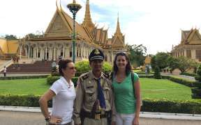 Tourists in the Royal Palace in Phnom Penh Cambodia