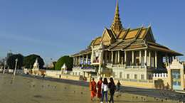 Buddhist monks at a square in front of the Royal Palace, Phnom Penh, Cambodia