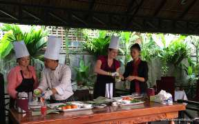 Tourists in the Cooking Class in Phnom Penh Cambodia