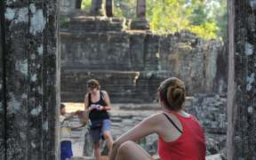 Smile face stone at Bayon temple in Angkor Thom, Siem Reap