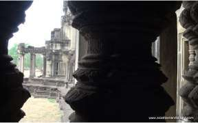 Detail of carved reliefs at Angkor Wat