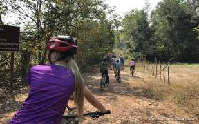 Riding the bicycle in the countryside in Siem Reap