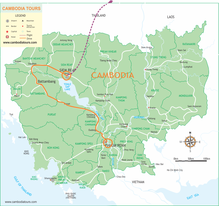 Cambodia Uncovered - 8 Days  map