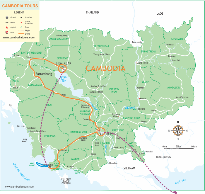 Truly Cambodia - 11 Days map