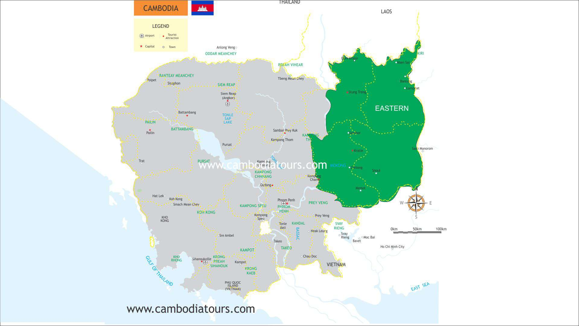 Eastern Cambodia Travel Map 8422e