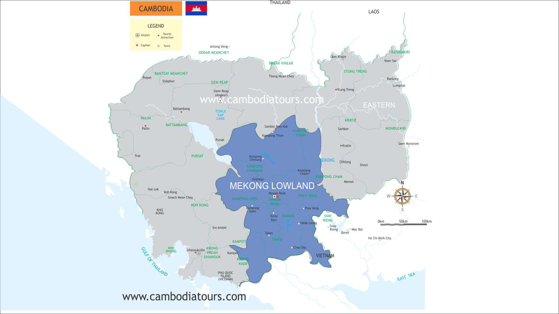 Mekong Lowland Cambodia Travel Map a6065