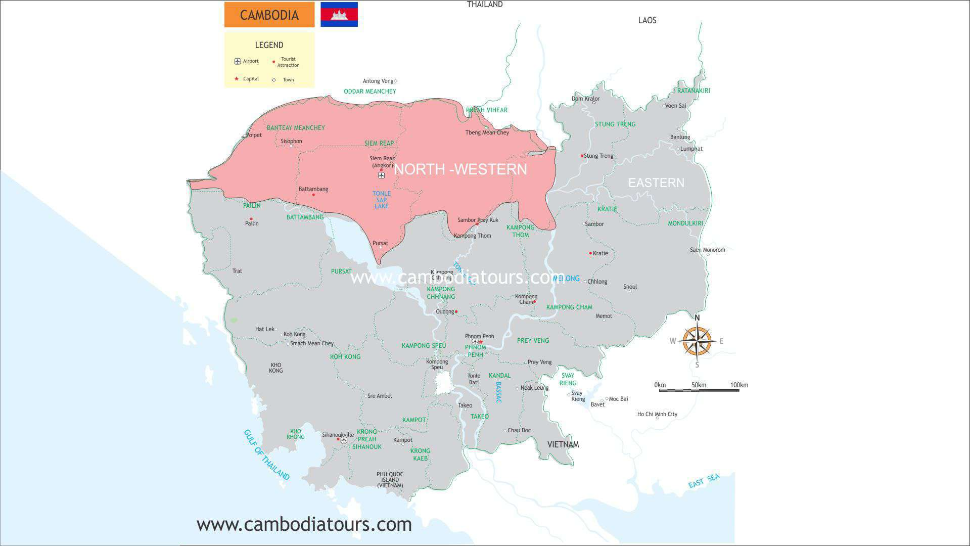 North Western Cambodia Travel Map