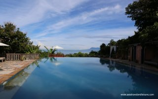 Kep - Cambodia, view from pool of a resort to the sea