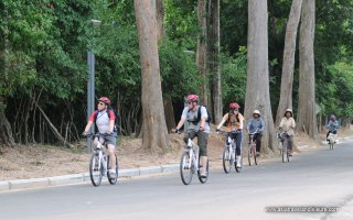 Riding bicycles in Seam Reap