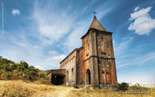 The abandoned christian church on top of Bokor mountain