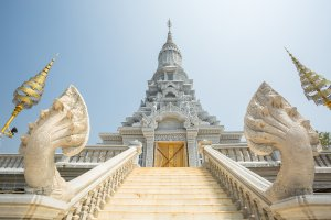 Stairs to Budha temple in Oudong city