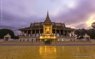 Royal Palace complex on sunset, Cambodia